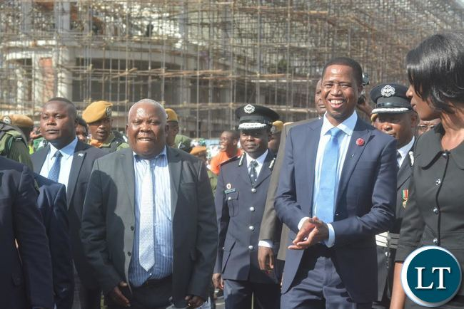 President Edgar Lungu (L) with Presidential Affairs Minister Freedom Sikazwe (R)before departure to Lesotho at Kenneth Kaunda International Airport yesterday,20-04-2017.Picture by Josephine Nsululu/Zanis.