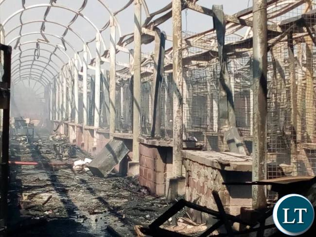 What aftermath of the fire at Lusaka City market