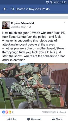 Zambia : The Controversial facebook post