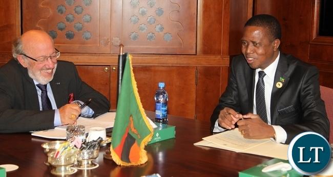 President Edgar Chagwa Lungu holds bilateral talks with European Union High Level Facilitator Mr Louis Michel at Sheraton Hotel in Addis Ababa, Ethiopia.
