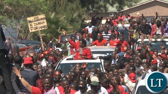 UPND Leader Hakainde Hichilema after being released