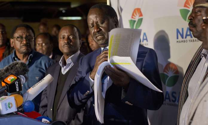 Raila Odinga, the National Super Alliance coalition leader, told a press conference that projections from his own team showed he was 'far ahead'. Photograph: Jerome Delay/AP