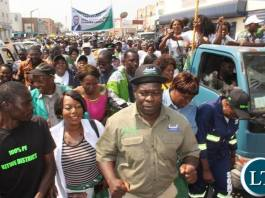 PF Copperbelt Chairman Stephen Kainga (in Khaki shirt) leading the solidarity march