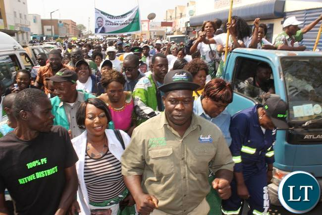 PF Copperbelt Chairman Stephen Kainga (in Khaki shirt) leading the solidarity march