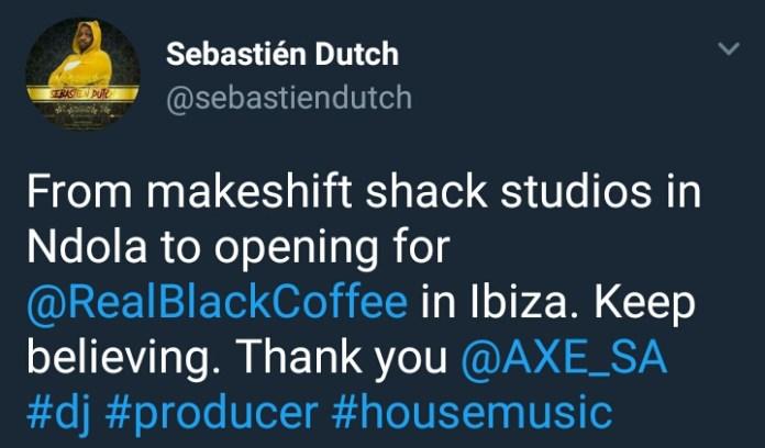 Zambia : DJ Sebastien Dutch to open for Black Coffee in Ibiza after