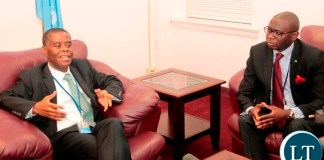 Zambia's permanent Representative to the United Nations., Ambassador Lazarous Kapambwe (L) flanked by Ministry of Foreign Affairs Permanent Secretary, Ambassador Chalwe Lombe briefs the Press on the Upcoming 72nd UNGA and His Excellency President Edgar Lungu's engagements in Newyork where he is expected to arrive on Sunday,17th September, 2017