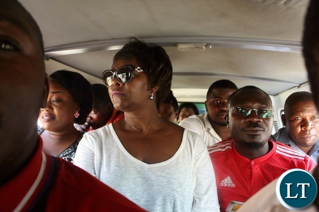 Commerce, Trade and Industry Minister Margaret Mwanakatwe using public transport