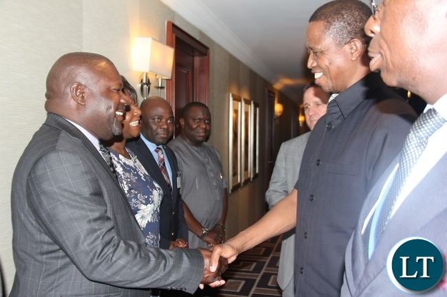 President Lungu speaking to Ministers Harry Kalaba, Stephen Kapyongo, Margaret Mwanakatwe and Lucky Mulusa who welcomed him at Palace Hotel In New York where he is attending the 72nd United Nations General Assembly