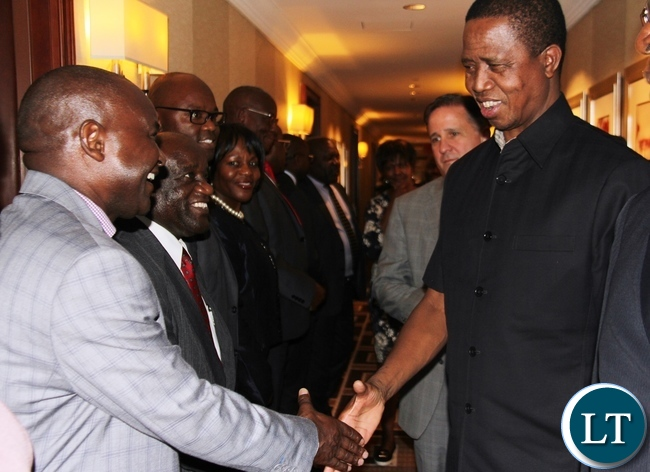 President Lungu greets newly appointed first secretary -press at the Zambian Mission In New York Mr, Wallen Simwaka