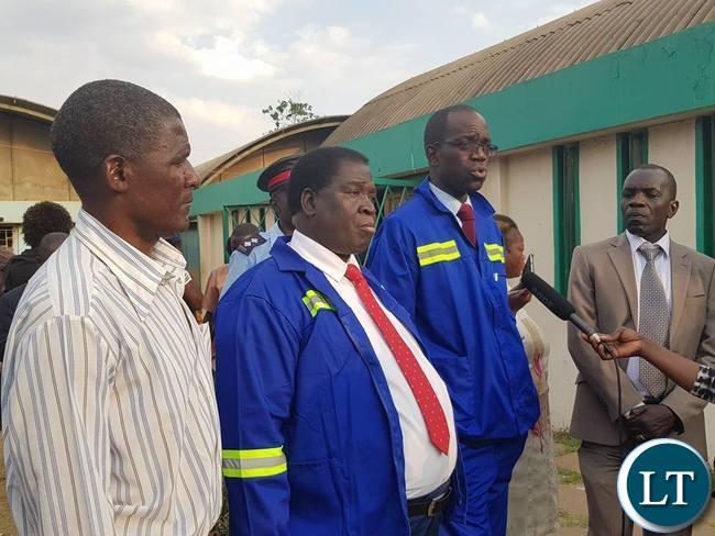 Copperbelt Province Permanent Secretary Elias Kamanga addressing marketeers