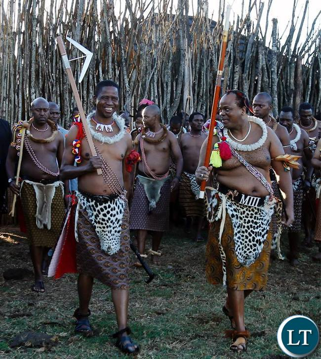 President Edgar Chagwa Lungu and King Mswati III shares a light moment during the annual reed dance in Swaziland on Sunday,September 3,2017. PICTURE BY SALIM HENRY/STATE HOUSE ©2017