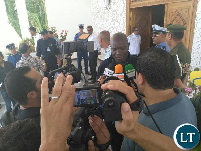 Zambia National Soccer team Coach Wedson Nyirenda talking to Journalists