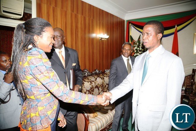 President Edgar Lungu welcomes Amnesty International Deputy Regional Director: Campaigns during courtesy call on the President at State House