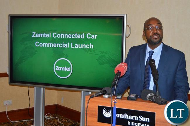 FILE-Transport and Communications Minister Brian Mushimba speaking during the launch of the Connected Car Zamtel service
