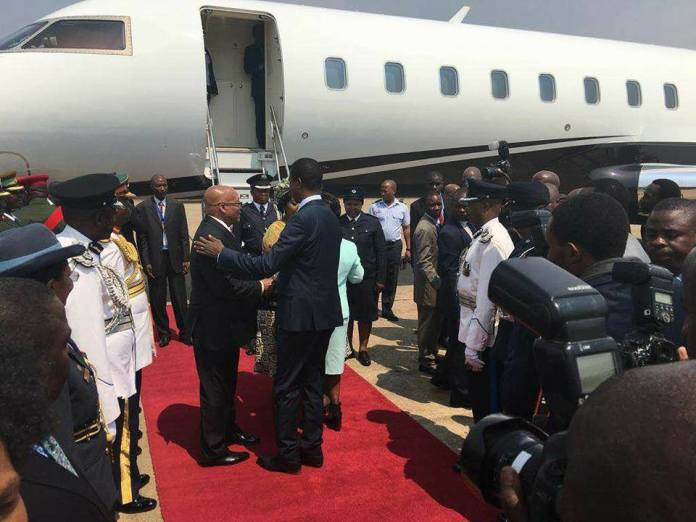 President Lungu welcoming President Zuma at KKIA this morning