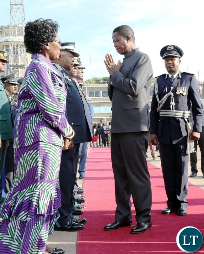 President Edgar Chagwa Lungu shares a light moment with the Vice-President Mrs Inonge Wina at Kenneth Kaunda International airport before he left for Cairo, Egypt for a three day working visit at the invitation of his Egyptian counterpart Abdel Fattah El-Sisi. Picture by Eddie Mwanaleza/State house 14-11-2017.