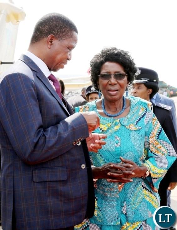 President Lungu with Vice President Mrs Inonge Wina at KK international airport left