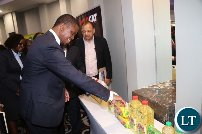 President Edgar Lungu during the tour of stands at the Zambia Association of Manufactures symposium at Radisson Blue Hotel