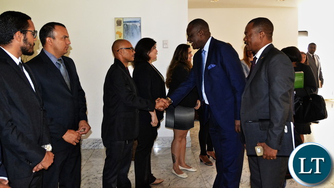 Minister Mutati being welcomed by Zambian Embassy Staff in Brasilia