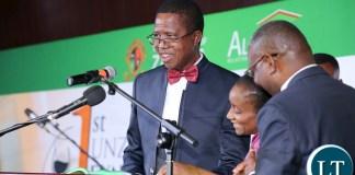 President Edgar Lungu at UNZA Alumni fund rasing Dinner dince at mulungushi international Conference centre last night