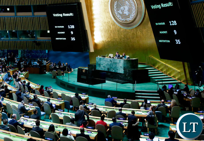 The UN General Assembly emergency session at the request of Arab and Muslim states with the results of the vote on Jerusalem are seen on display boards at the General Assembly