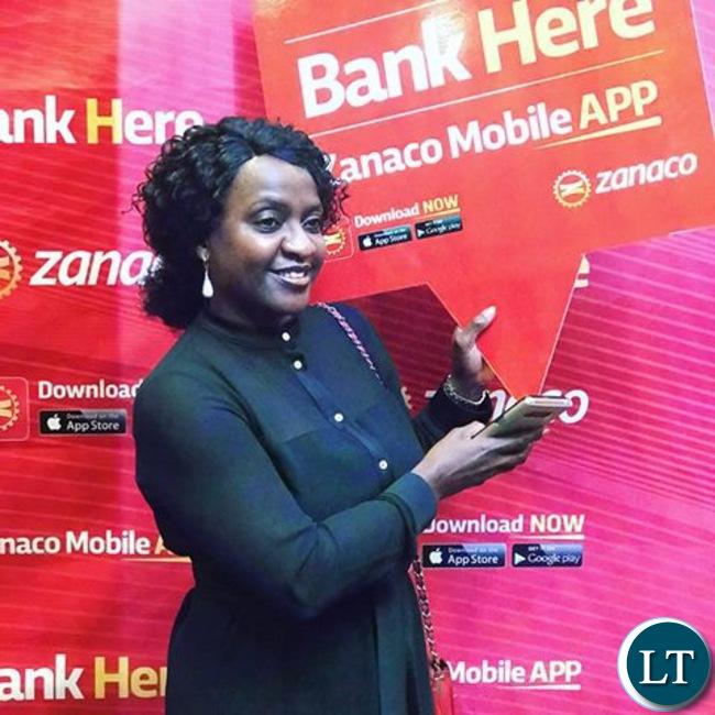 ZANACO Board Chairperson Charity Lumpa at the launch of the ZANACO Mobile App