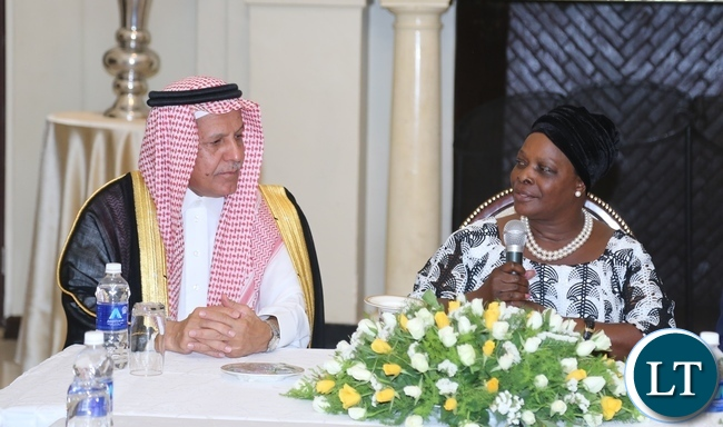 First Lady Esther Lungu confer with delegation leader from Saudi Arabia Eng: Yousef Ibrahim Al Abdulrahman Al Bassam when the Saudi Arabia term called on the first lady at State House