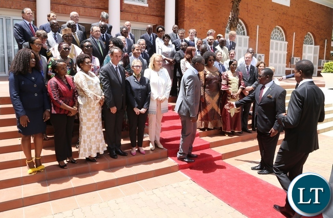 President Edgar Lungu been ushered for the official picture with High Commissioners and Ambassadors with at State House during the New year greeting ceremony with High Commissioners and Ambassadors accredited to the republic of Zambia
