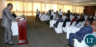 Minister of Foreign Affairs Joe Malanji addressing Diplomatic Corps and High Commissioners accredited to Zambia during the meeting at Mulungushi International Conference Centre