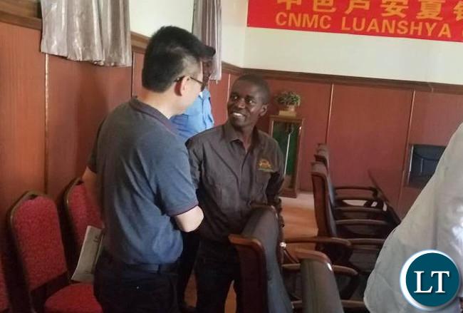 Luanshya Mayor nathan Chanda with CNMC Luanshya Copper Mine Deputy Chief Executive Officer, Wang Jingjun