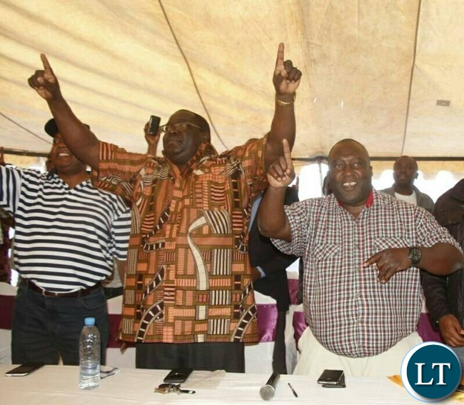 Chishimba Kambwili flashes the NDC symbo