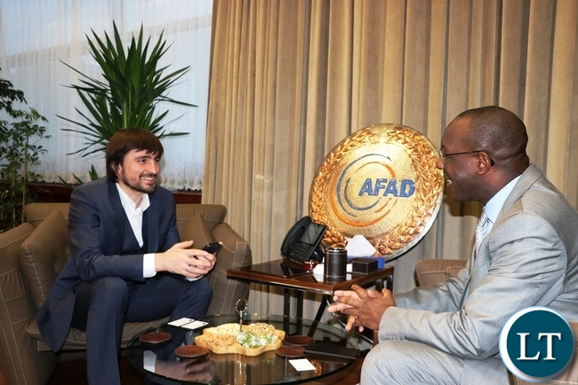 Chargé d' Affaires of Zambia in Turkey, Bwalya Nondo (right) during a meeting with Turkey's Prime Ministry Disaster and Emergency Management Authority (AFAD) Director-General Dr Mehmet Gulluoglu in Ankara –Picture by JERRY MUNTHALI