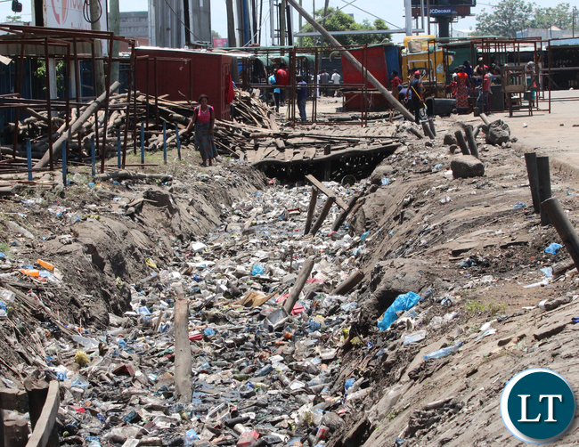 Drainage Plastic pollution in Lusaka's City Centre