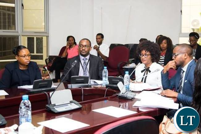 Officials from ZIPAR making submissions to two Parliamentary Committees on Management and operations of the IDC and the National Budget and growing inequalities in Zambia.