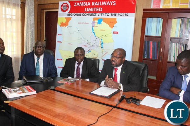 Transport and Communications Minister Brian Mushimba with Officials from Zambia Railways