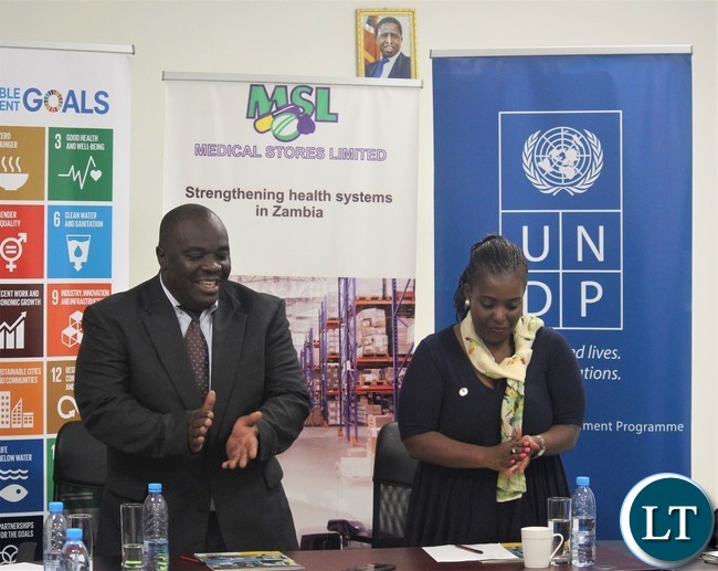 MSL Managing Director, Mr. Chikuta Mbewe and UNDP Country Director, Ms. Mandisa Mashologu at the signing ceremony