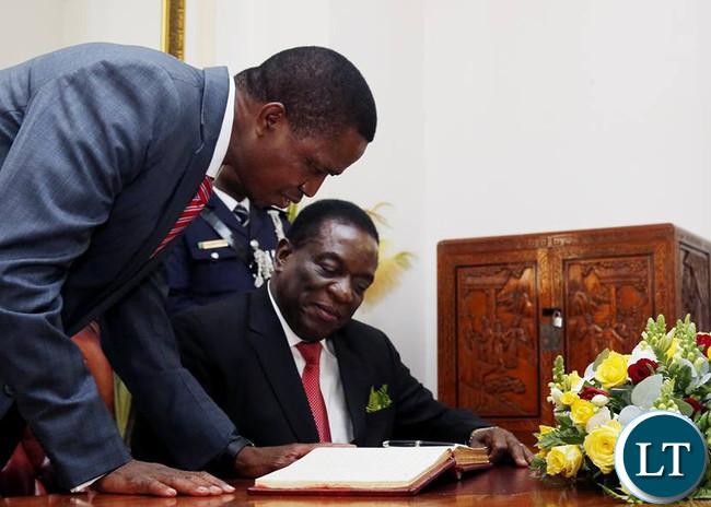 Visiting Zimbabwean President Emmerson Mnangagwa with President Edgar Lungu at State House