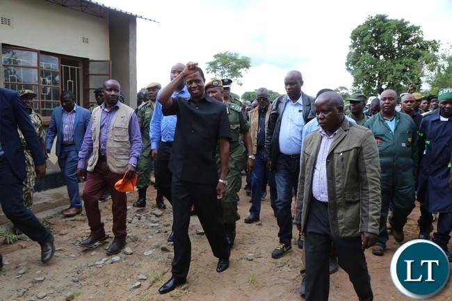 President Edgar Lungu on arrival in Lavushimana District in Mpika