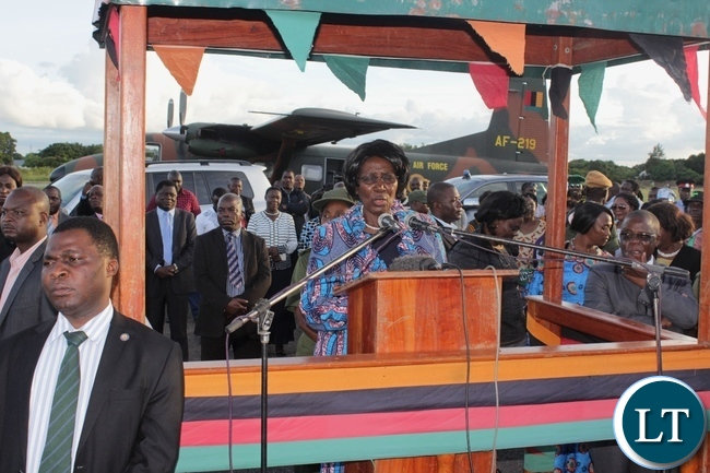 Vice President Inonge Wina (c) addressing on arrival at Mongu Airport for a two-day working visit to inspect government developmental projects in Western Province