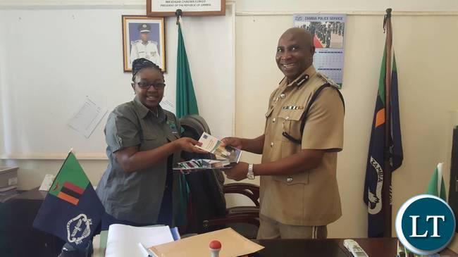 The accompanying picture features HRC Commissioner Yuyo Kambikambi with the Commissioner of Police for Northern Province Mr. Richard Mweene during a courtesay call at Kasama Central Police Station