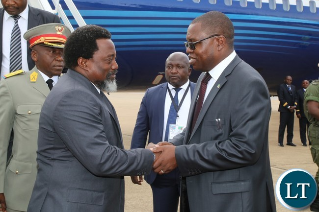 Foreign Affairs Minister Joseph Malanji welcomes President of the Democratic Republic of Congo His Excellency Mr.Joseph Kabila at Kenneth Kaunda International Airport.