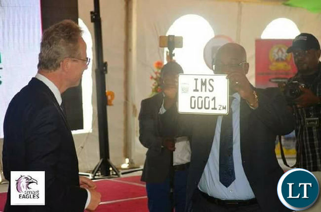Transport Minister Brian Mushimba unveils the Intelligent Mobility Solutions (IMS), a PPP that will run road traffic system in Zambia.