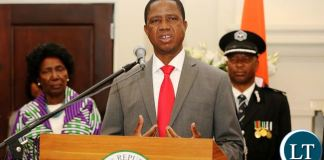 President Lungu at State House during the swearing in ceremony