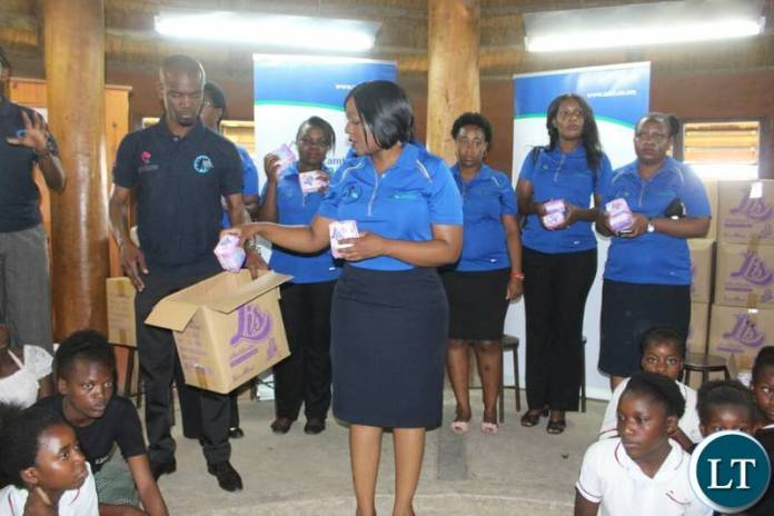 The Sanitary Pads handover ceremony held at Lubuto Library Partners Model Library in Garden Compound