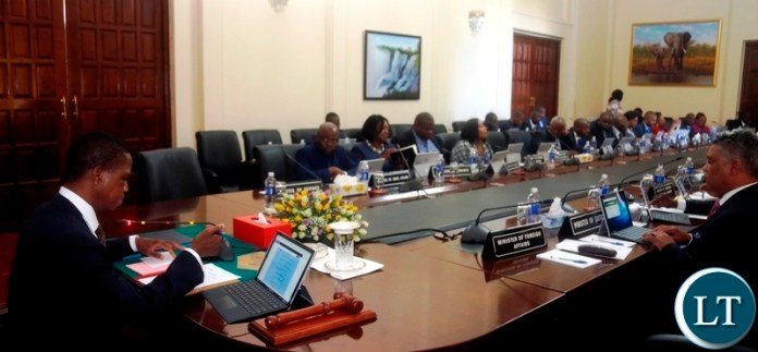 President Edgar Lungu (left) chairs the Fifth Cabinet Meeting at State House in Lusakaon Monday, March19,2018. PICTURE BY SALIM HENRY/STATE HOUSE ©2017
