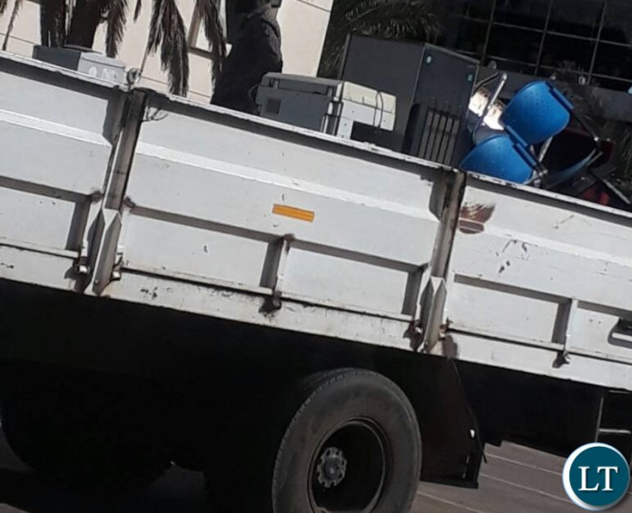 Truck at Football House collecting items from FAZ offices