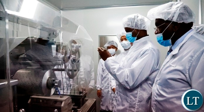 President Edgar Lungu tours the Kingphar Pharmaceutical factory at Lusaka East Multi facility Economic zone