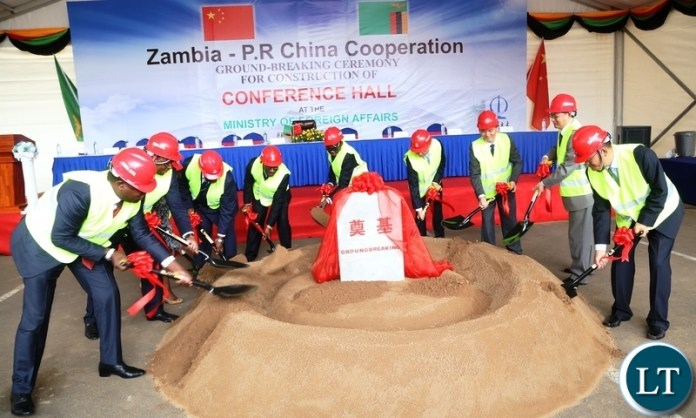 Minister of Foreign Affairs Joe Malanji (l) with his term and outgoing Chinese Ambassador Yang Youming (r) ground breaking for the construction of Conference hall at Foreign Affairs