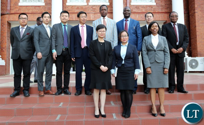 President Edgar Lungu with Mr HuaRong Zhang, the Chairman of Huajian Group of China who paid a courtesy call on the Head of State at State House today. Mr Zhang is in the country leading a business delegation from China to look at various investment prospectives. He is a member of all China Federation of Industry and Commerce, Vice-Chairman of China Africa Business Council, Chairman of Asia Footwear Industry Association and President of Guanzhou Huajian International shoes Chinese Business - Pictures By Eddie Mwanaleza