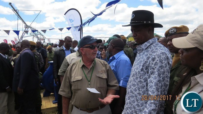 President Edgar Lungu at the Agritech Expo, KSB stad in 2017